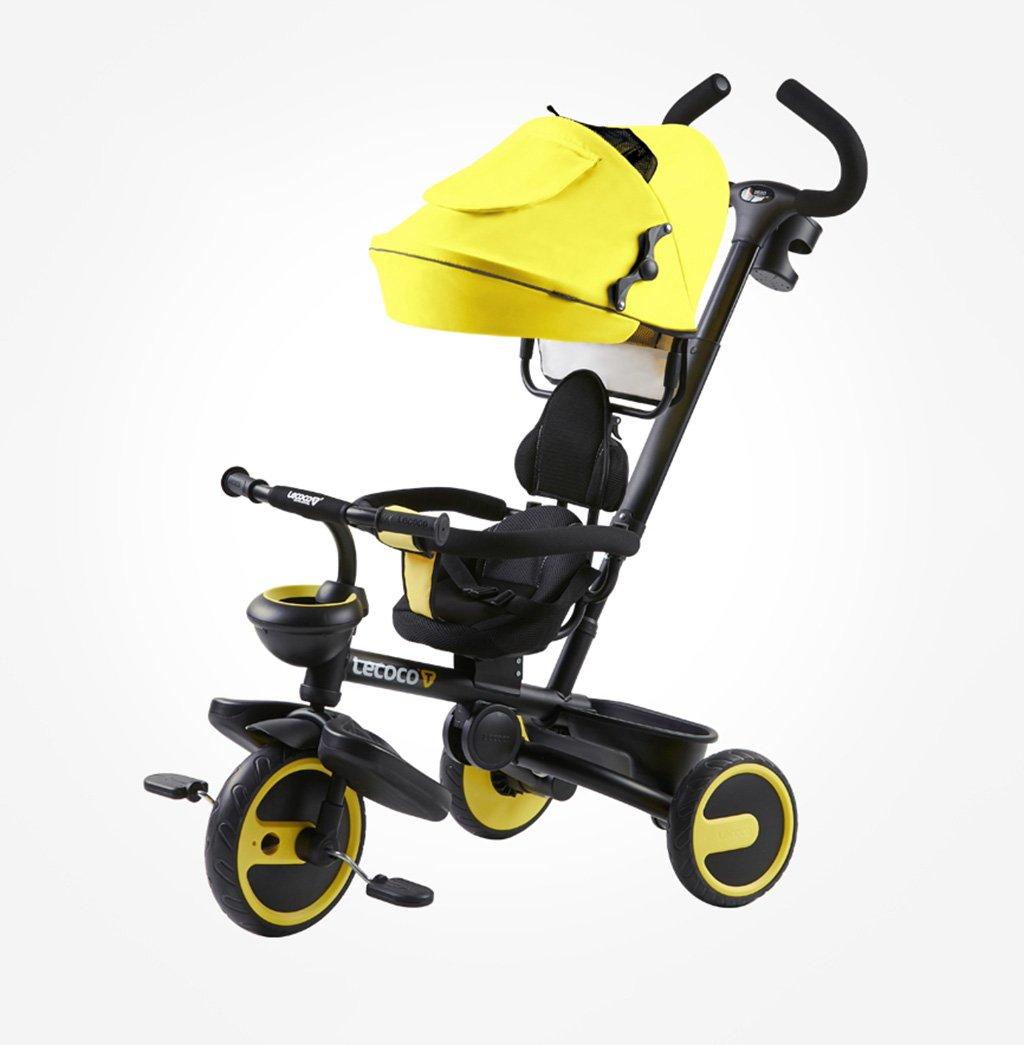 子供用三輪車1-5歳バイクフォールディング/静か/回転ベビーキャリッジベビーハーネスベビーベビーカーイエロー25 Kg B07F3J7MVS