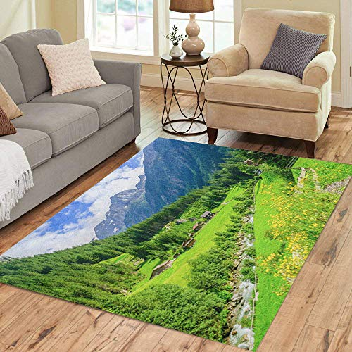 (Pinbeam Area Rug Beautiful Alpine Landscape Green Meadows Cottages and Mountain Home Decor Floor Rug 3' x 5' Carpet)