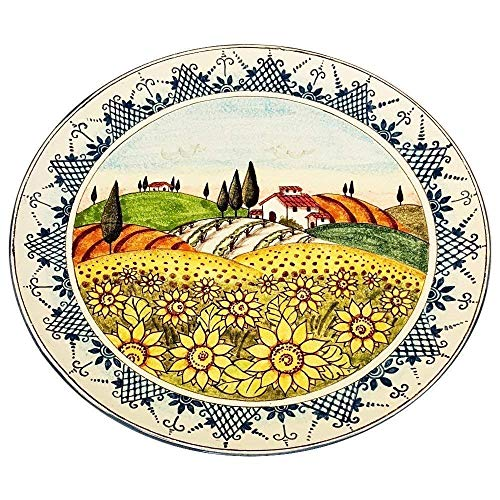 CERAMICHE D'ARTE PARRINI - Italian Ceramic Art Pottery Big Plate Flat Dish Decorated Landscape Sunflower Tuscan Made in ITALY
