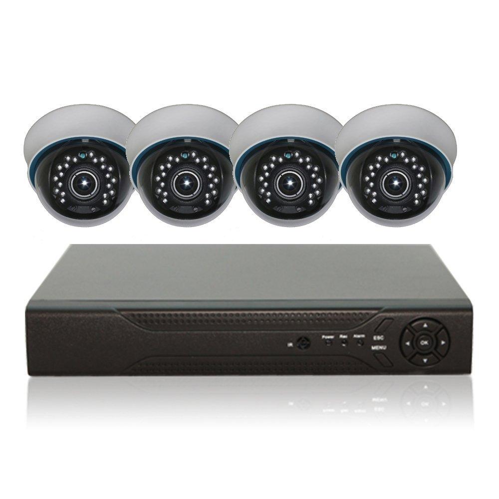 防犯カメラセット 屋内用 ドーム型 監視カメラ 500万画素 AHD CMOSイメージセンサー搭載 防犯カメラ+AHD録画対応 HDDレコーダー セット 屋外 防水 暗視 遠隔監視 HD ハイビジョン B0784FT4S7  カメラ4台+4TBレコーダーセット