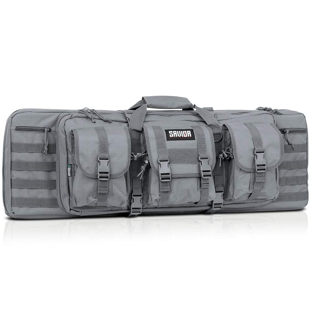Savior Equipment American Classic Tactical Double Long Rifle Pistol Gun Bag Firearm Transportation Case w/Backpack - 36 Inch Ash Gray by Savior Equipment