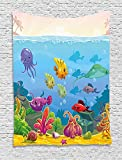 THndjsh Aquarium Tapestry, Funny Cartoon Style Underwater Scenery with Various Animals and Treasure Chest, Wall Hanging for Bedroom Living Room Dorm, 60 W X 80 L Inches, Multicolor