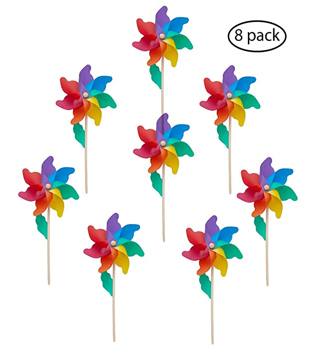 """Wind Pinwheels(Ø 9.5"""")-Wood Stick/Wand, Pack of 8, 7-Color Rainbow, Outdoor Spinners for Kids, Birds Repellent, Suitable for Party, Garden, Yard, Indoor Home Decoration, Party Favors -20.5x9.5x3.9 IN"""
