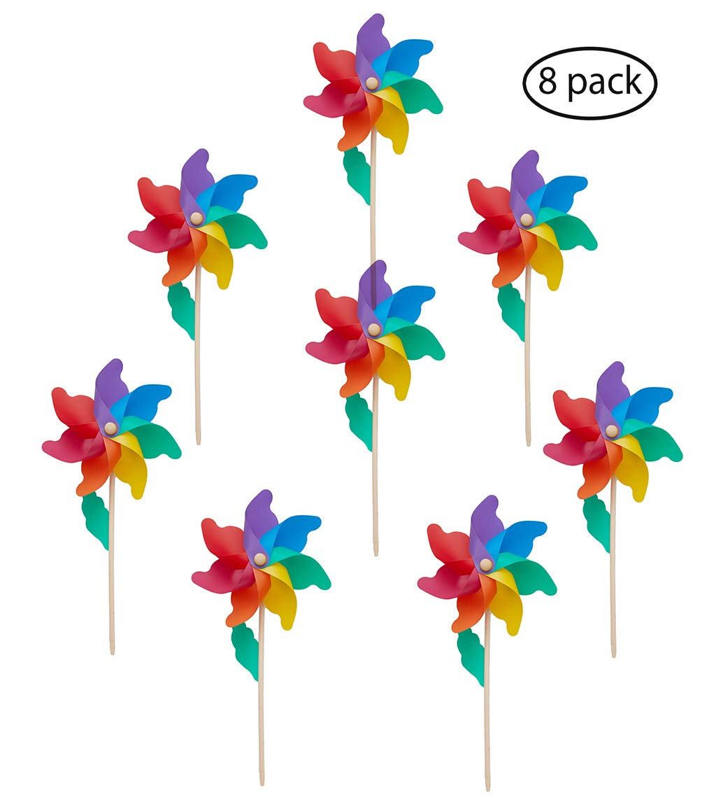 Wind Pinwheels(Ø 9.5'')-Wood Stick/Wand, Pack of 8, 7-Color Rainbow, Outdoor Spinners for Kids, Birds Repellent, Suitable for Party, Garden, Yard, Indoor Home Decoration, Party Favors -20.5x9.5x3.9 IN