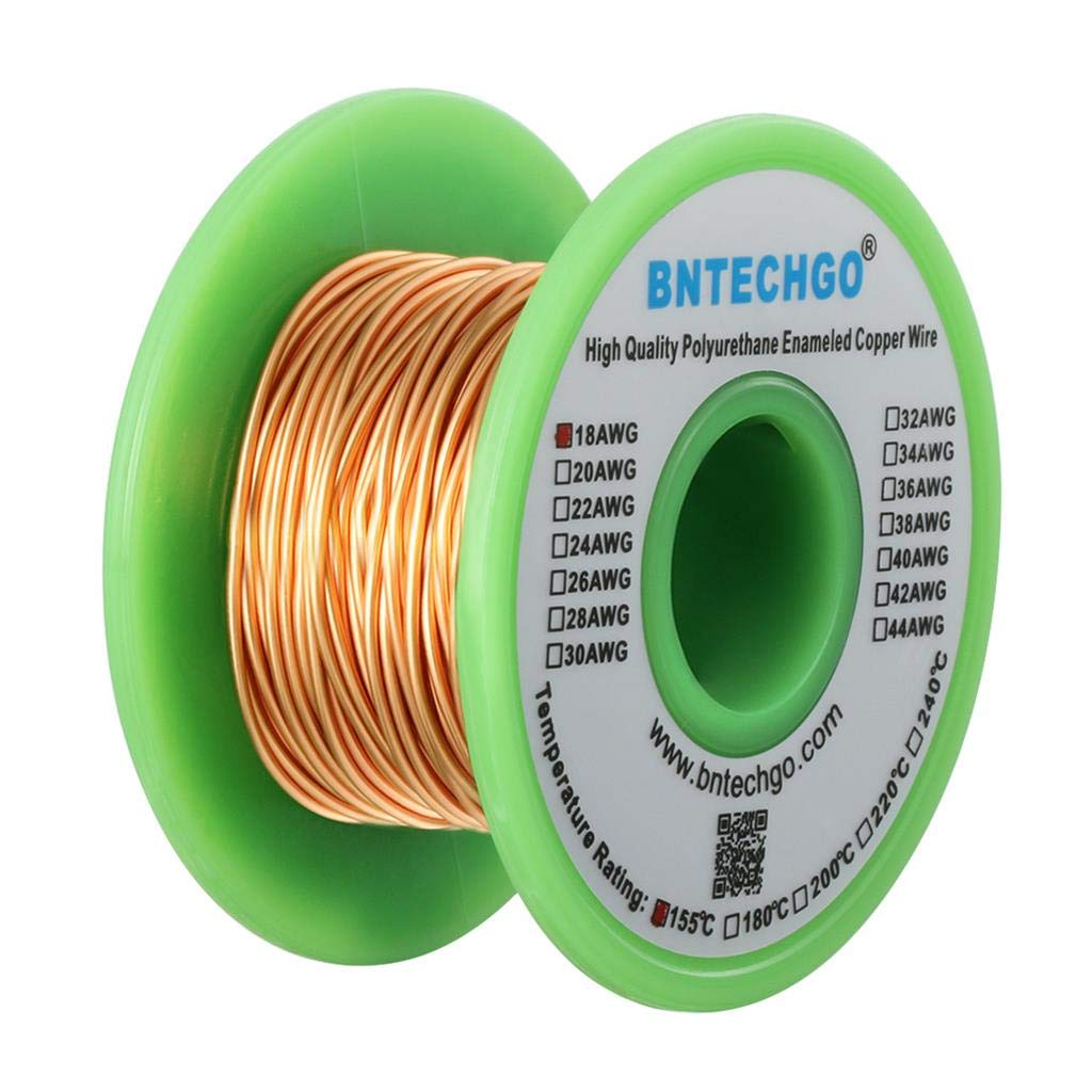 0.0393Diameter 1 Spool Coil Natural Temperature Rating 155℃ Widely Used for Transformers Inductors BNTECHGO 18 AWG Magnet Wire 4 oz Enameled Magnet Winding Wire Enameled Copper Wire