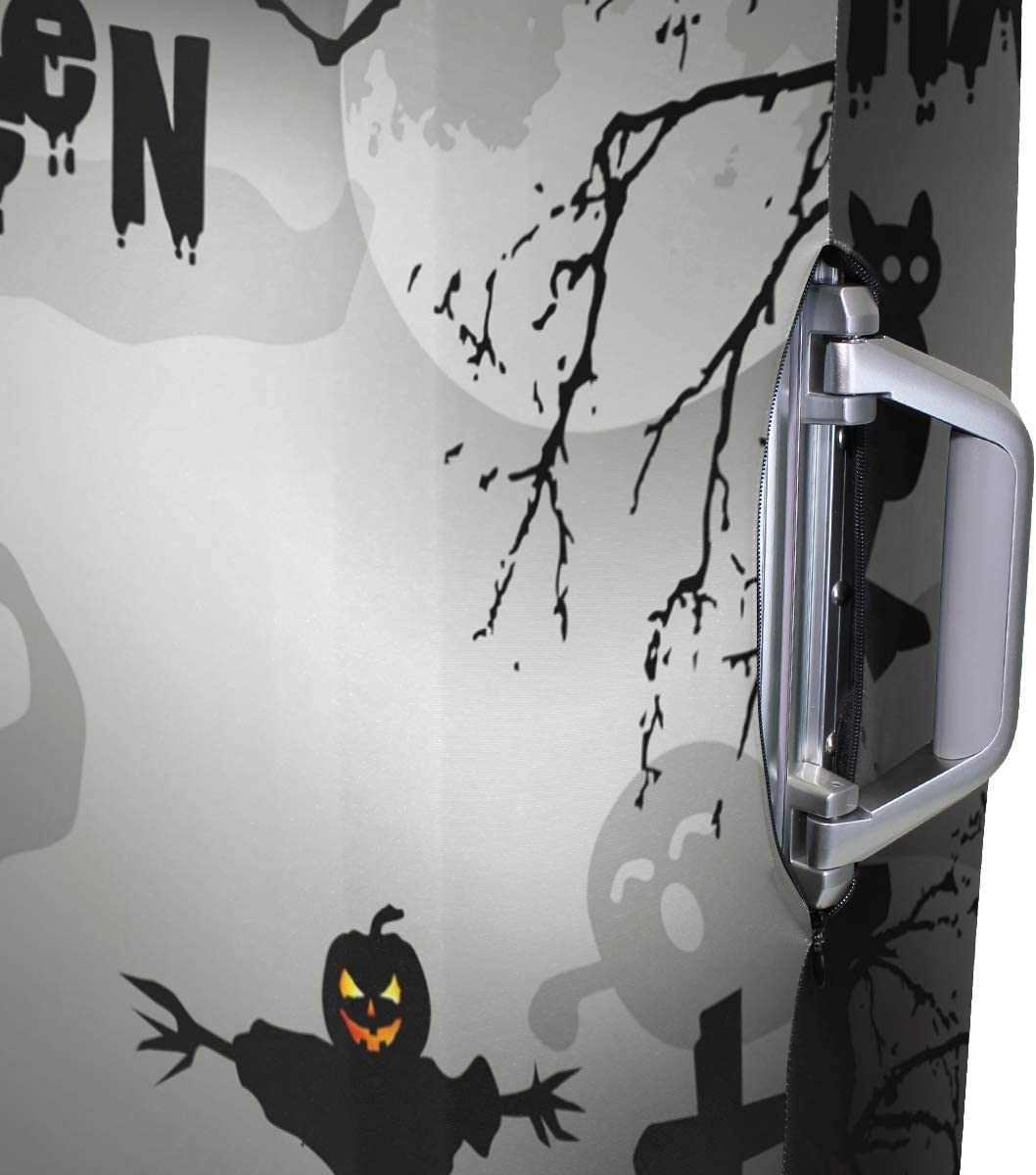 FOLPPLY Happy Halloween Funny Ghost Bat Luggage Cover Baggage Suitcase Travel Protector Fit for 18-32 Inch