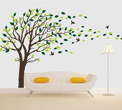 amazon com brown tree flying birds wall decals vinyl wall sticker
