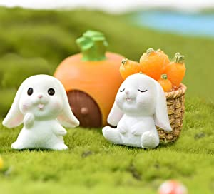 WanLight DIY Miniature Garden Decorations, Cute Rabbits and Carrot with Basket Miniature Fairy Garden Accessories for Micro Landscape Fairy Garden Kit for Bottle-5pcs Rabbits