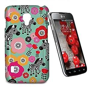 Phone Case For LG Optimus L7 II Dual P715 - Zebra Blossoms Green Designer Lightweight