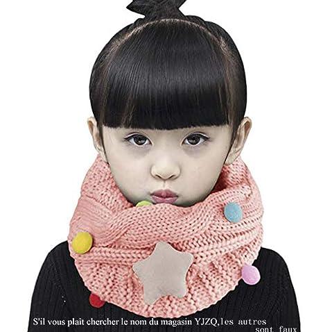 187e0bb0b6051 YJZQ Snood Enfant Fille Écharpe étoiles bébé Cercle écharpe Tour Cou  Torsade Cache-Cou Tubulaire tricoté Chaude avec thème étoilée pour Enfants  2-5ans: ...