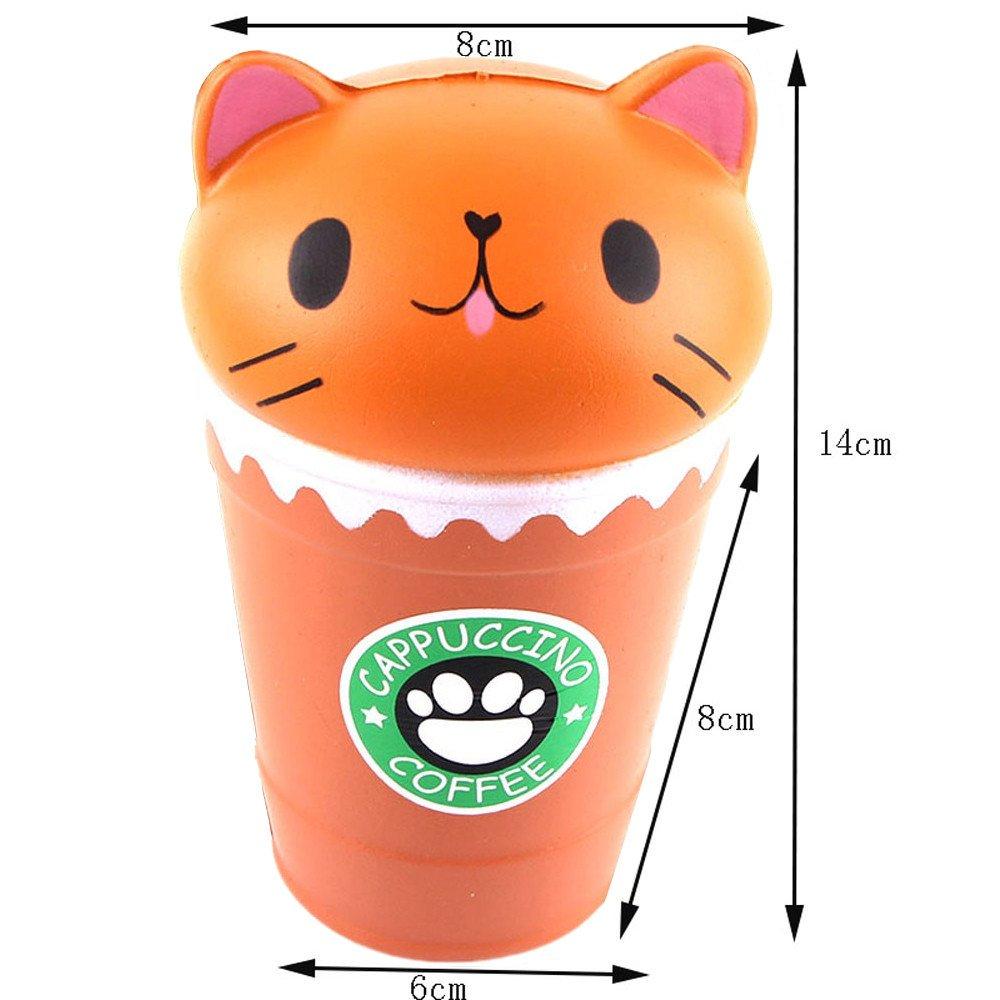 Fossrn Juguete de Galaxy Ciervo Kawaii Grande Animales con Perfumados Olor Juguetes de compresión (Taza de Cafe gato/14 * 8 * 8cm)