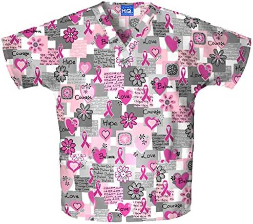 Scrub H.Q. By Cherokee Women's Discount V-Neck 2-Pocket Tunic Style Breast Cancer Awareness Print Scrub Top Xx-Large Print
