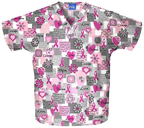 (Cherokee Scrub H.Q Women's Discount V-Neck 2-Pocket Tunic Style Breast Cancer Awareness Print Scrub Top X-Large Print)