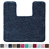 Kangaroo Original Shaggy Chenille Toilet Bath Rug, Square U-Shape Contour Mat for Toilet, Washable, Mats Contoured for Toilets, Soft, Plush Carpet Rugs for Kids Shower and Bathroom, Navy Blue