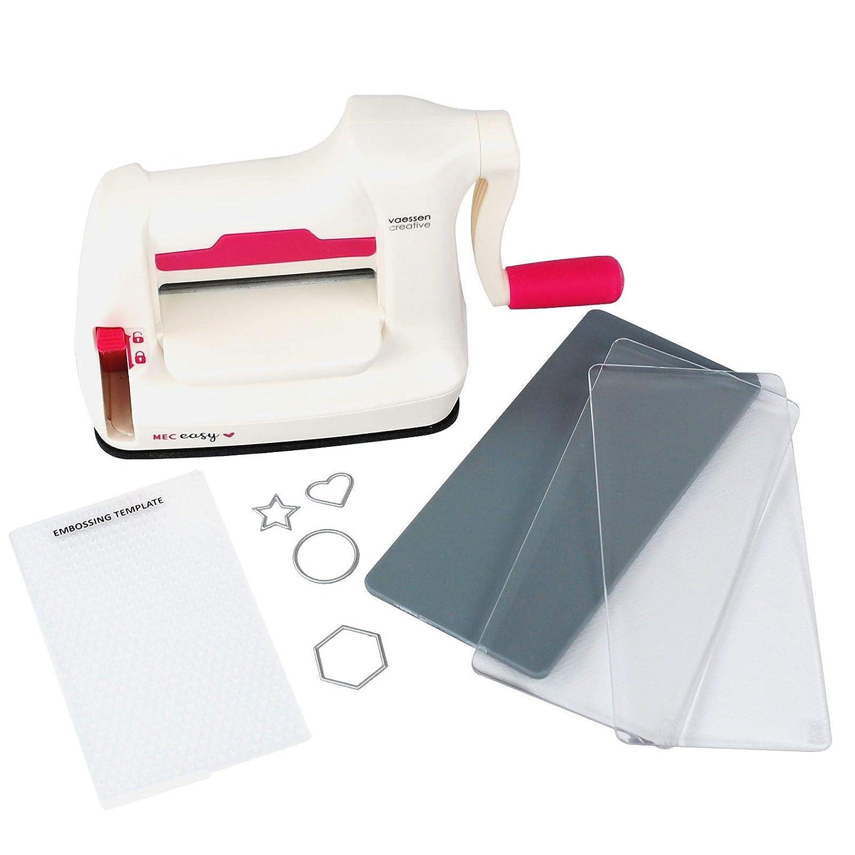 Vaessen Creative Mini Fustellatrice e Macchina per Goffratura Starter Kit, Bianco/Rosa, 12.5 x 21 x 9.5 cm 2137-035