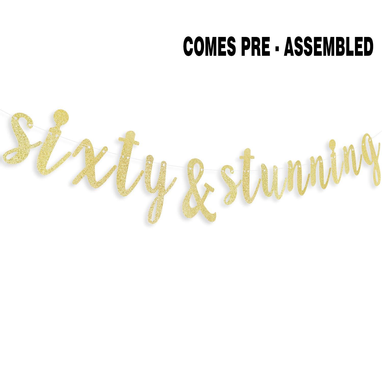 Amazon.com: Sixty & Stunning - Guirnalda de banderines con ...