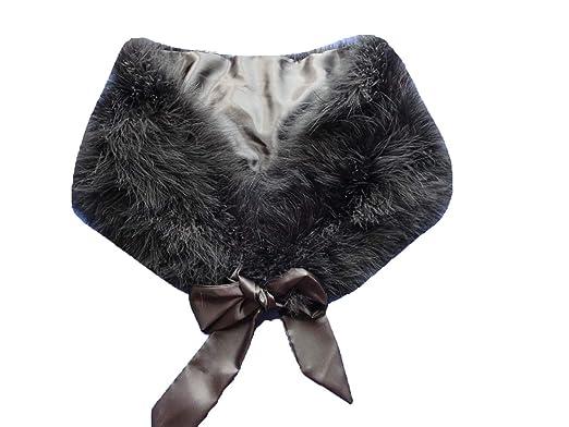 Amazon.com  True ostrich feather cape scarf bride accessories (black ... ce567df97903