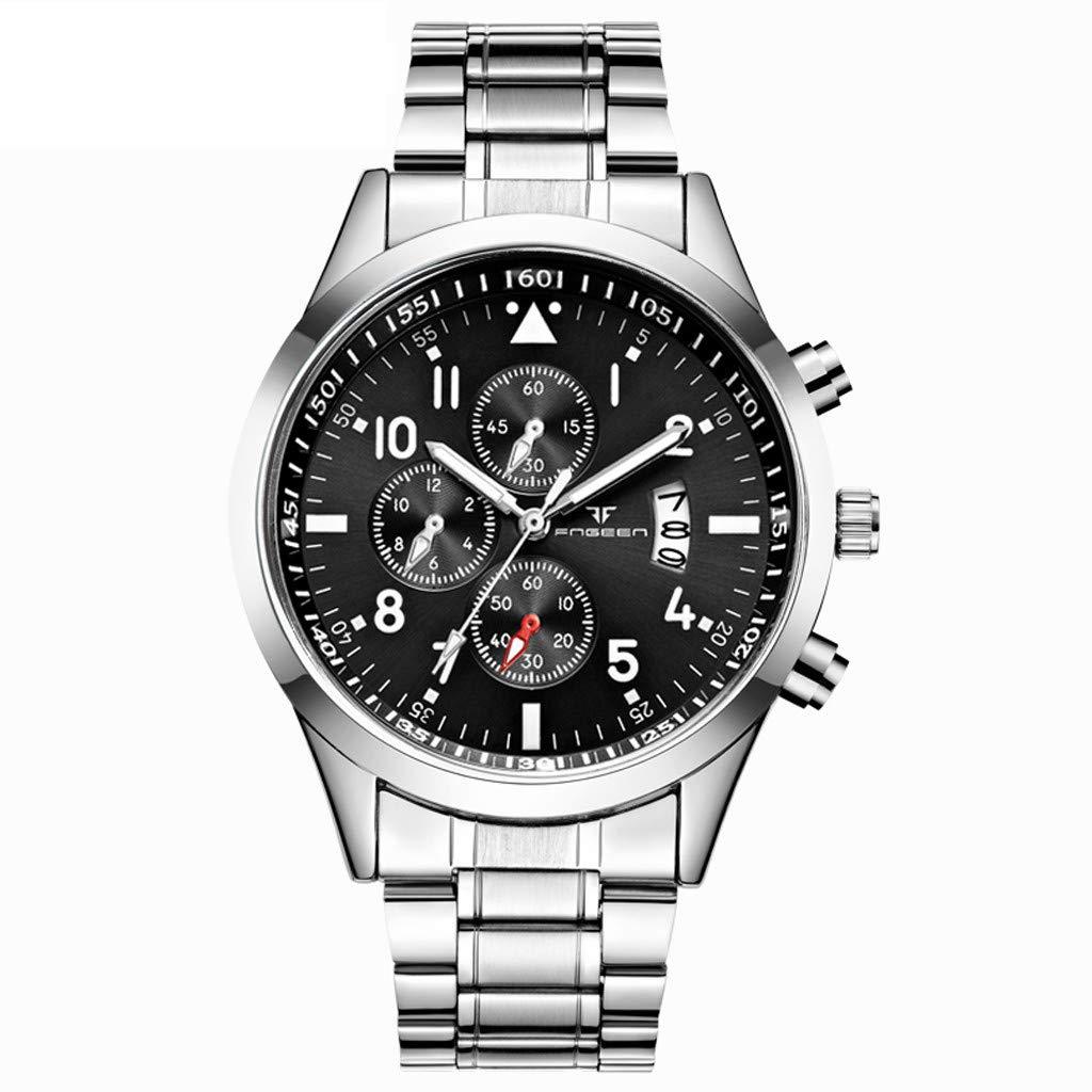 XBKPLO クォーツ腕時計 メンズ スポーツ ラグジュアリー 三目 防水 ハイグレード アナログ腕時計 ファッション 日付ウィンドウ スチールストラップジュエリー B07RPMCLNQ B