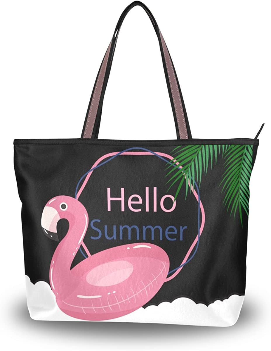 Womens Handle Structured Tote Bag Satchel Handbag Flamingo Patern Shoulder Bag Purse