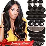 Brazilian Virgin Hair Body Wave with Lace Frontal, 100% Unprocessed Human Hair Bundles with 13×4 Ear to Ear Lace Frontal, Bleached Knots with Baby Hair Natural Color 100g/PC (16 18 20+14 Lace Frontal) For Sale