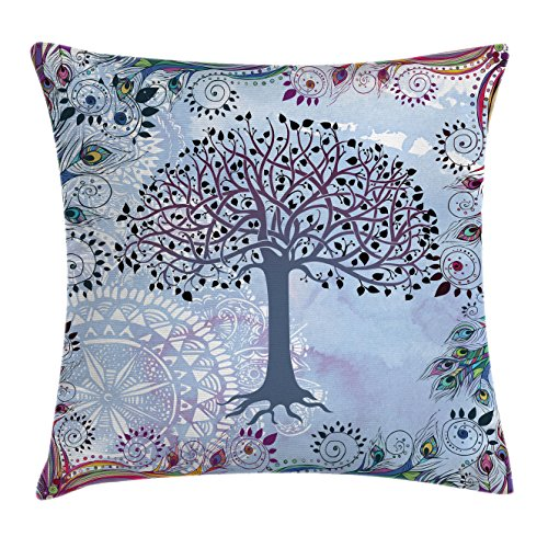 """Ambesonne Nature Throw Pillow Cushion Cover, Tree of Life Motif Peacock Feathers Tribal Vintage Prehistoric Flora Illustration, Decorative Square Accent Pillow Case, 18"""" X 18"""", Blue"""