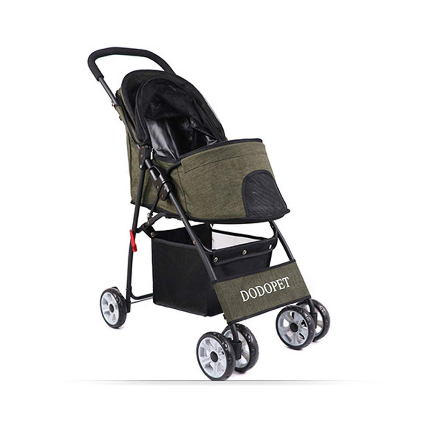 A Pet Stroller Four-Wheeled pet Stroller Folding Trolley (color   A)
