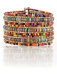 Bohemian Multi-Colored Sequin Gold Cuff Bracelet -...