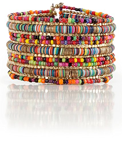 SPUNKYsoul Bohemian Multi-Colored Sequin Gold Cuff Bracelet Collection
