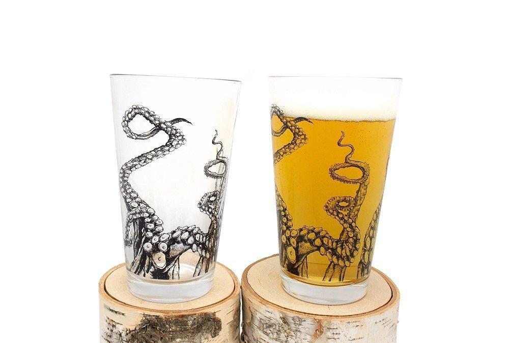 Pint Glasses - Octopus Tentacles - Set of Two Screen Printed Pint Glasses