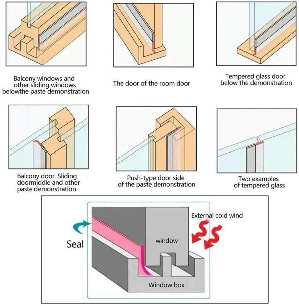 Width: 25MM Stggo Door Bottom Seal Strip Door Weather Stripping Self Adhesive Door Draft Stopper Draught Excluder Silicone Seal Strip for Door /& Window,16 Ft Translucence
