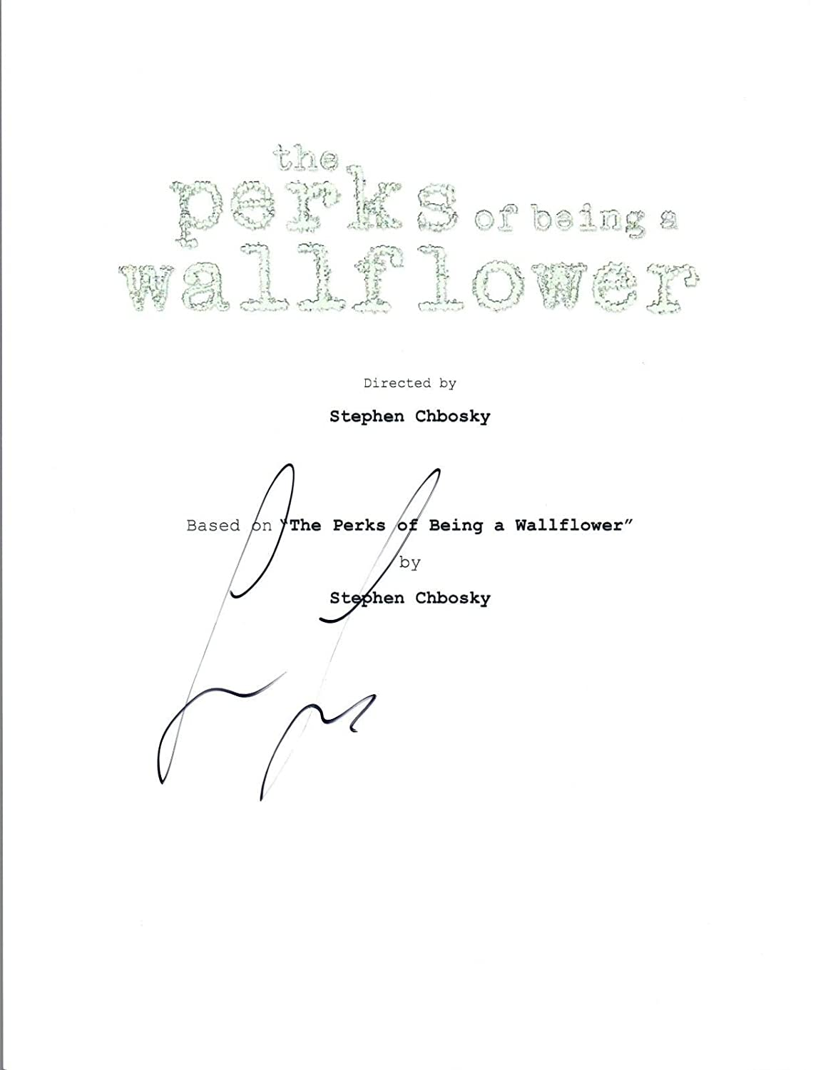 Logan Lerman Signed Autographed THE PERKS OF BEING A WALLFLOWER Script COA VD Unbranded