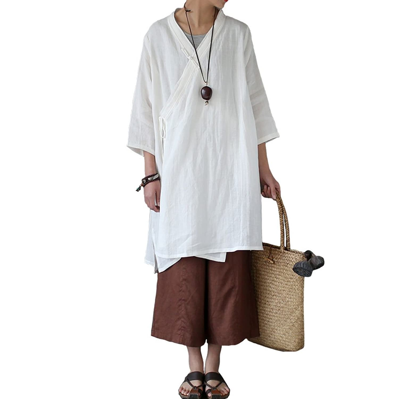 Aeneontrue Women's Half Sleeve Linen Irregular Long Cardigans Coat Blouses