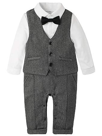 013cfa77dc4df (ラボーグ)La Vogue 子供服 フォーマル スーツ ベビー ロンパース 長袖 ベスト 帽子 3点