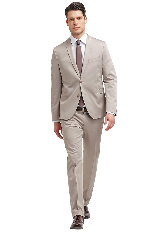 Dressvip Décontracté 2018 Costume Homme Mariage Affaires Couleur Unie Beige  2 Pièces Veste Pantalons 5a3ccf2f707