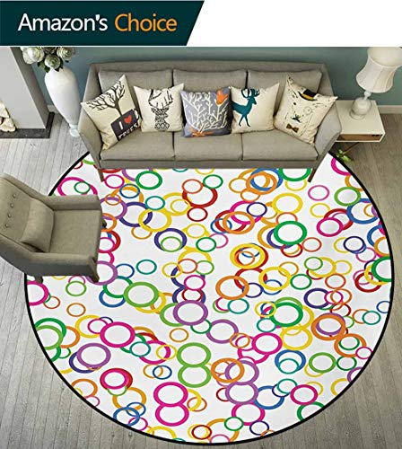 RUGSMAT Rainbow Warm Soft Cotton Luxury Plush Baby Rugs,Circles Rainbow Party Gatherings Spectrum Round Summertime Joy Kids Teepee Tent Game Play House Round,Round-35 Inch Salmon Yellow Lavander Pink