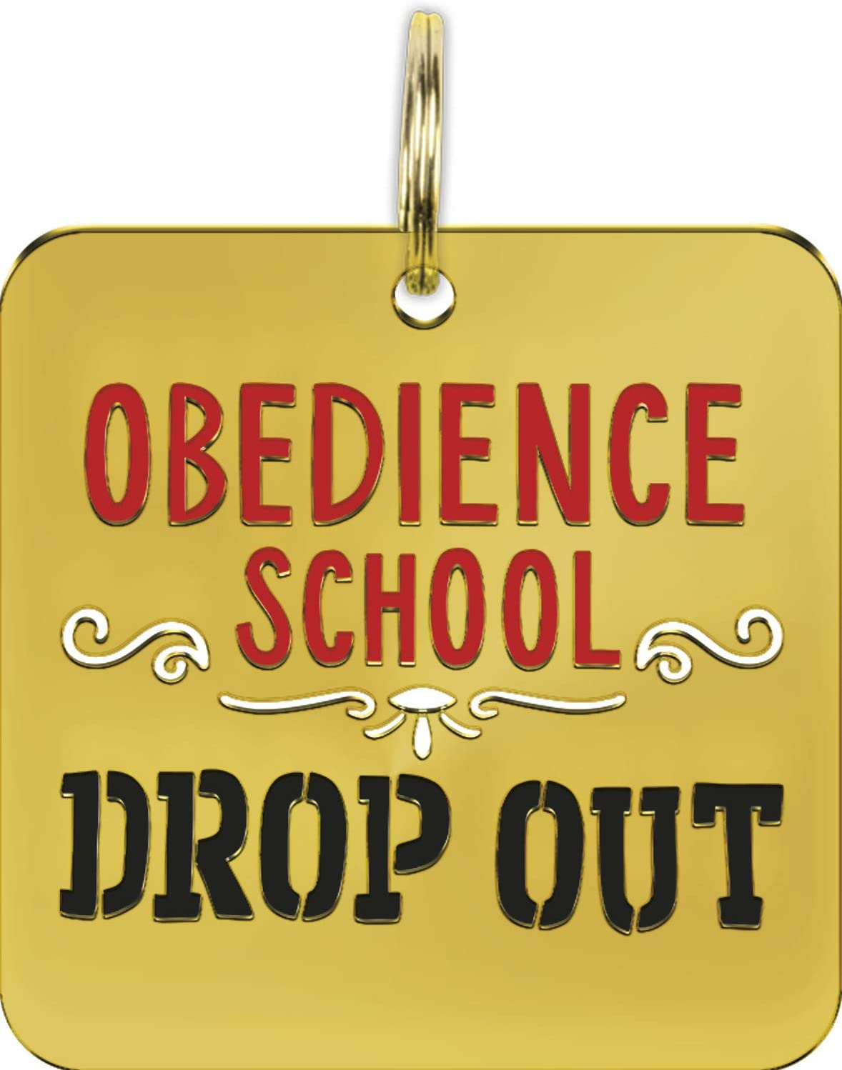 Obedience School Drop Out Hard Enamel Dog Collar Pet Charm 1.25 Inch x 1.25 Inch