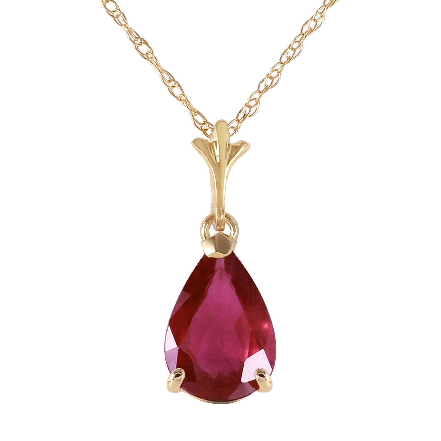 Galaxy Gold 1.75 Carat 14k 18'' Solid Gold Natural Pear-shaped Ruby Drop Pendant Necklace