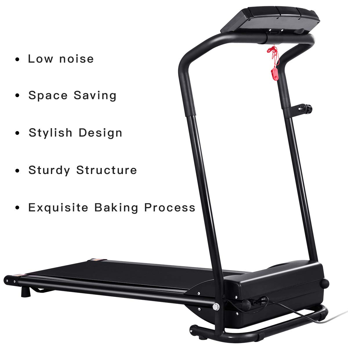 GYMAX Folding Electric Portable Treadmill Low Noise Jogging Walking Running Machine Exercise Treadmill w/Safety Key by GYMAX (Image #3)