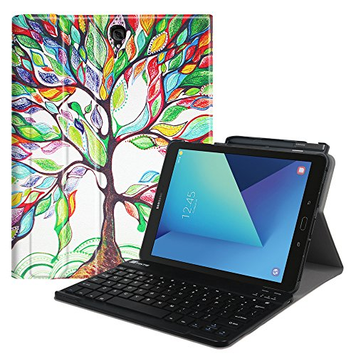 Fintie Keyboard Case for Samsung Galaxy Tab S3 9.7, Smart Slim Shell Stand Cover with S Pen Protective Holder Detachable Wireless Bluetooth Keyboard for Tab S3 9.7 2017 (SM-T820/T825/T827), Love Tree