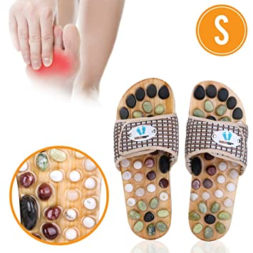 Acupressure Massage Slippers with Natural Stone, Therapeutic Reflexology  Sandals for Foot Acupoint Massage Shiatsu Arch Pain Relief, Fit Women 6-7