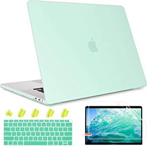 May Chen Smooth Matte Hard Shell Case Cover for MacBook Air 13 inch Retina Display & Touch ID A2179/A1932 2018 2019 2020 Release, 4 in 1 Keyboard Cover + Screen Protector + Dust Plug,Light Green