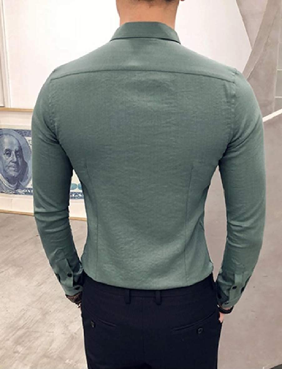 Abetteric Men Solid Colored Embroidered Long-Sleeve Slimming Shirt Tops