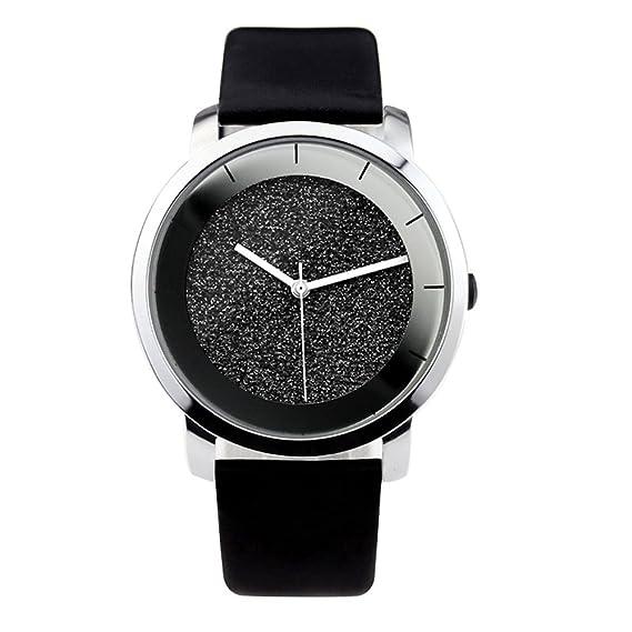 2017 Nuevo estilo reloj enmex diseño creativo moda reloj de pulsera de cuarzo de banda de cuero negro Color: Yu liang: Amazon.es: Relojes