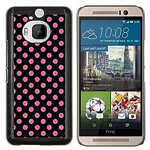 Dot Pink Purple Pattern Wallpaper- Metal de aluminio y de plástico duro Caja del teléfono - Negro - HTC One M9+ / M9 Plus (Not M9)