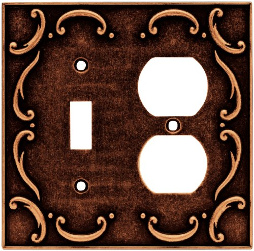 Brainerd 64275 French Lace Single Toggle Switch/Duplex Outlet Wall Plate / Switch Plate / Cover, Sponged Copper - Brainerd French Lace