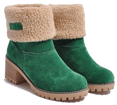 SimpleC Mujeres Botas de Nieve Clásico Forrado en Caliente sin Cordones Punta Redonda, Tacón Medio Botines de Tobillo verde39: Amazon.es: Zapatos y ...