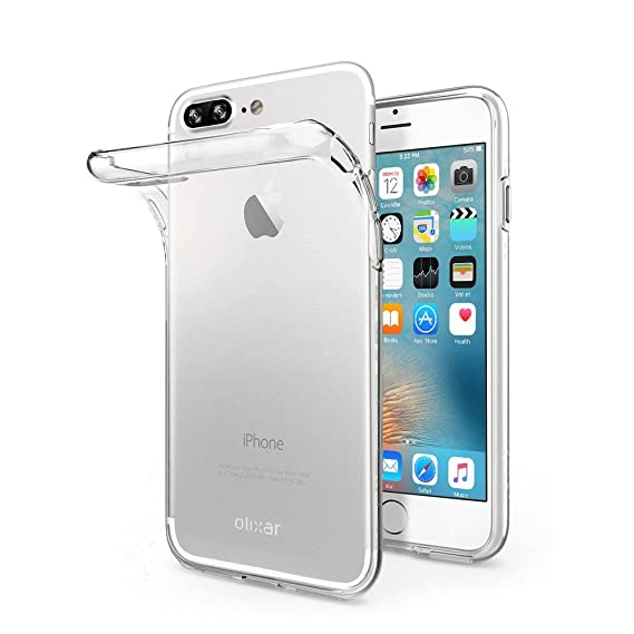 newest 9bf25 3c2a8 Olixar iPhone 8 Plus Clear Case - Slim Soft Gel Cover - Ultra Thin 100%  Clear - Flexible Transparent Cover - Wireless Charging Compatible