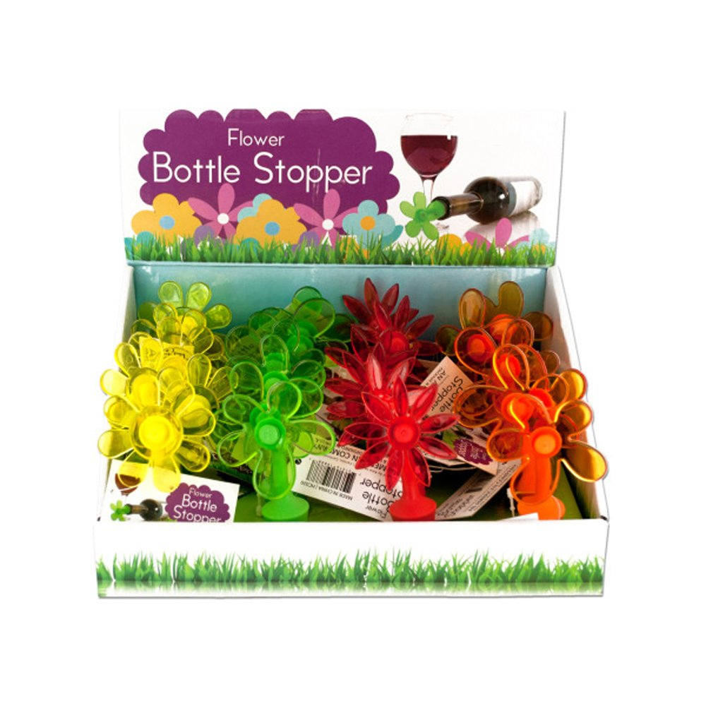 Bulk Buys Home Flower Bottle Stopper Counter Top Display Case Of 24 by bulk buys