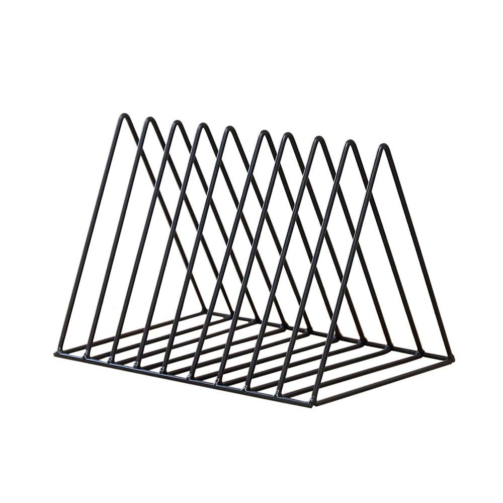 Simple Triangle Bookshelf Black Iron Desktop Storage Rack Creative Metal Frame Magazine Holder for Home Office