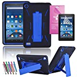 EpicGadget Heavy duty Hybrid Full Protection Case with Kickstand, Screen Protector and stylus for 7-inch Amazon Fire-5th Generation - Black/Blue